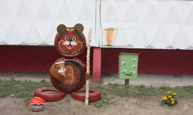 Как сделать из шины медведя